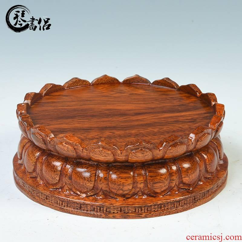 Pianology picking FoTai round solid wood bodhisattva guanyin lotus base bracket base wooden Buddha, Buddha base