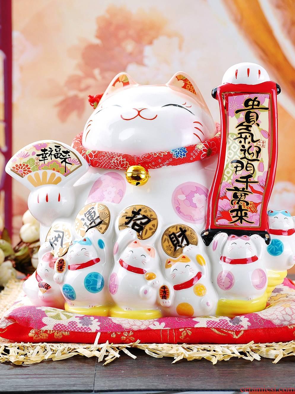Stone workshop opening gifts creative plutus cat ceramic storage tank large Japanese store checkout furnishing articles