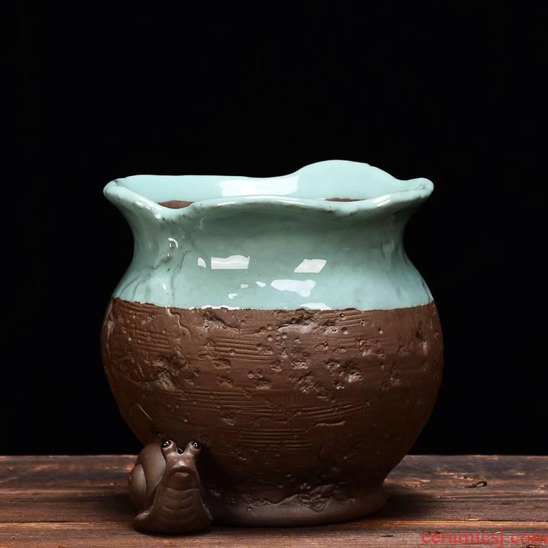 YOU creative purple sand flowerpot more meat wholesale ceramic green the plants potted meat meat money plant asparagus plant bonsai POTS