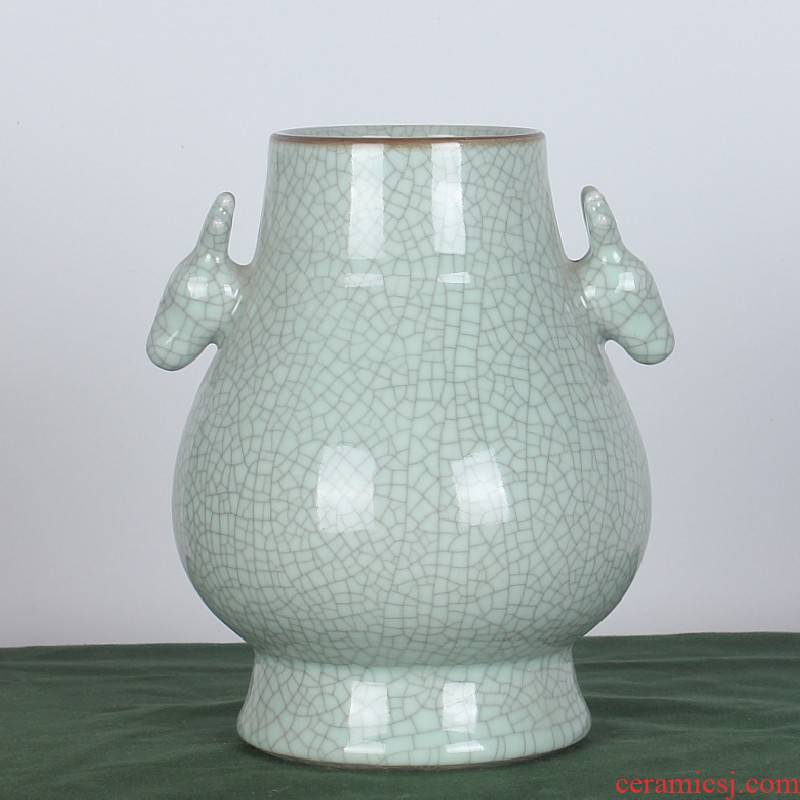 Archaize crack of jingdezhen ceramics glaze deer head double listen barrels vases, new Chinese style classical sitting room adornment is placed