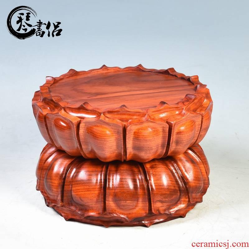 Pianology picking red round solid wood guanyin bodhisattva ocean 's king kong hua limu lotus base wooden Buddha base