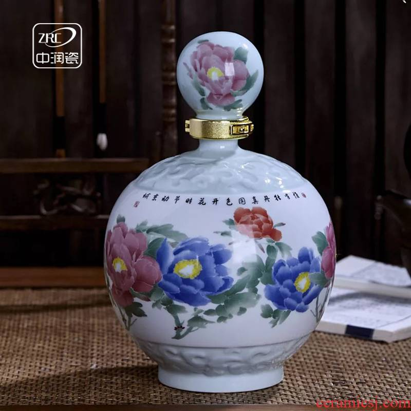 Jingdezhen ceramic bottle wine home antique liquor altar sealed jar of blooming flowers 3 kg 5 kg terms bottle