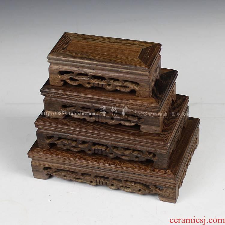 Carve patterns or designs on woodwork rectangle wenge jade stone Buddha base mahogany antique vase base