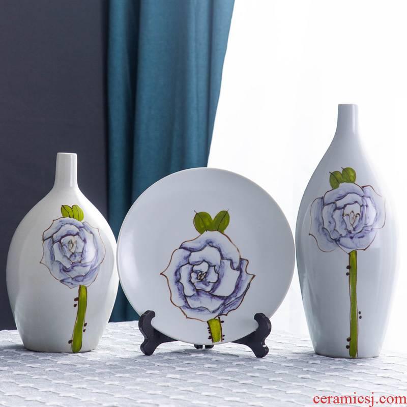 Jingdezhen vase furnishing articles dried flowers flower arrangement sitting room TV ark, creative ceramic zen new Chinese style soft adornment ornament