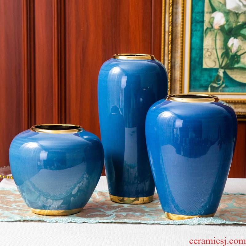 European ceramic vase is placed little blue pottery modern home decoration decoration flower arranging dried flowers contracted sitting room