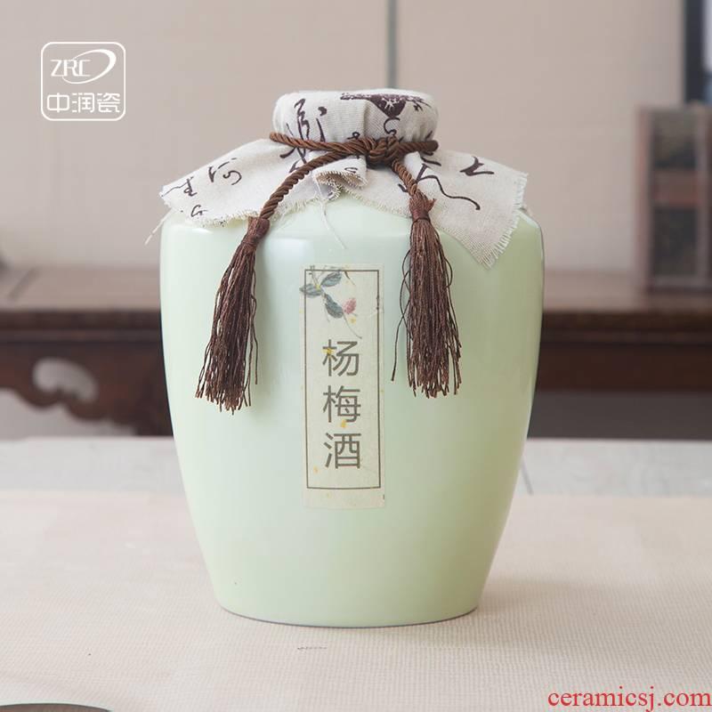 Jingdezhen ceramic jar home antique white wine wine bottle 5 jins of ten catties seal an empty bottle mercifully jars jugs