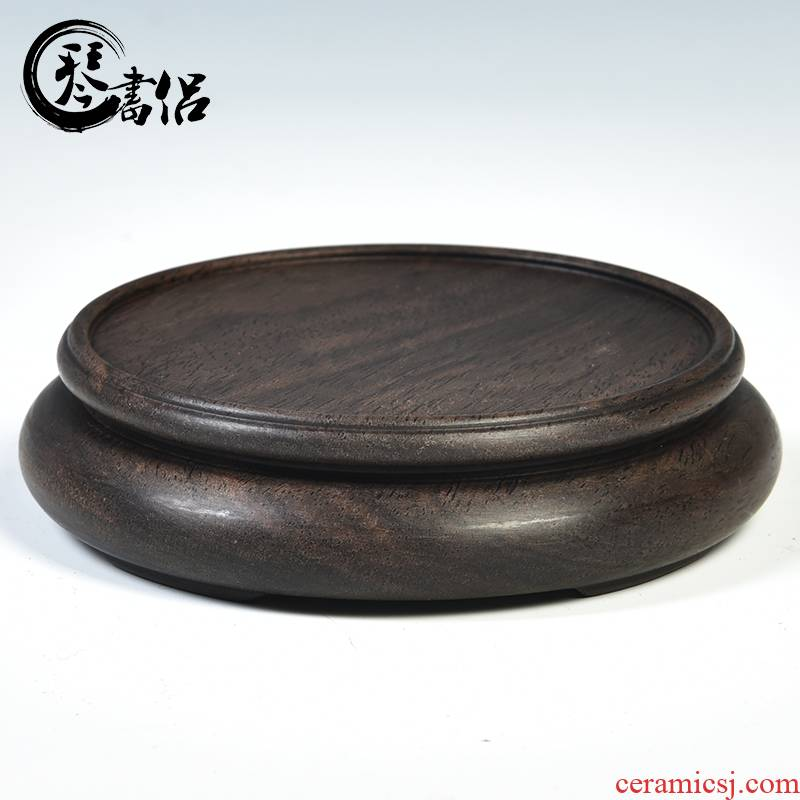 Ebony wood carving handicraft base element circular base vase base tea cups are it base base pad