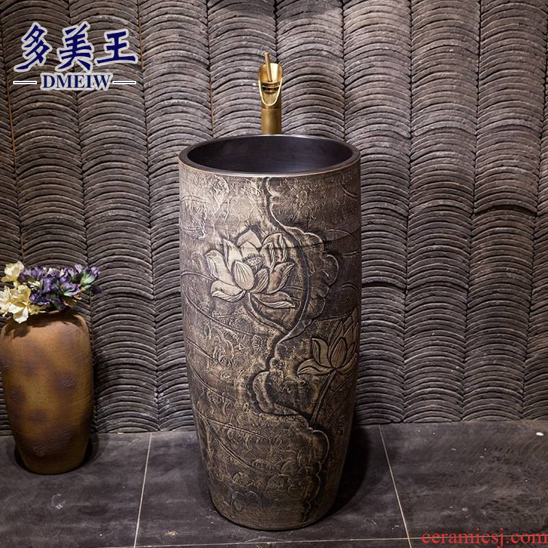 Vertical lavatory ceramic basin of archaize floor pillar integrated is suing balcony is suing garden pillar lavabo