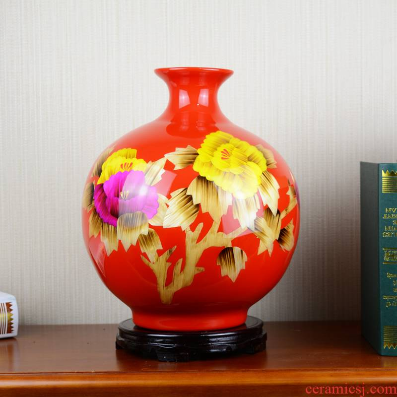 Jingdezhen ceramics red peony vases, modern Chinese style living room home flower adornment handicraft furnishing articles