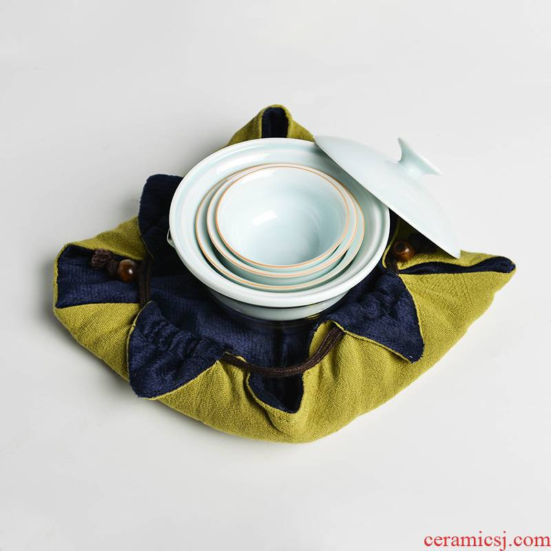 Auspicious blessing kung fu tea set vehicle travel fair paperback glass BeiYing celadon teacup) make