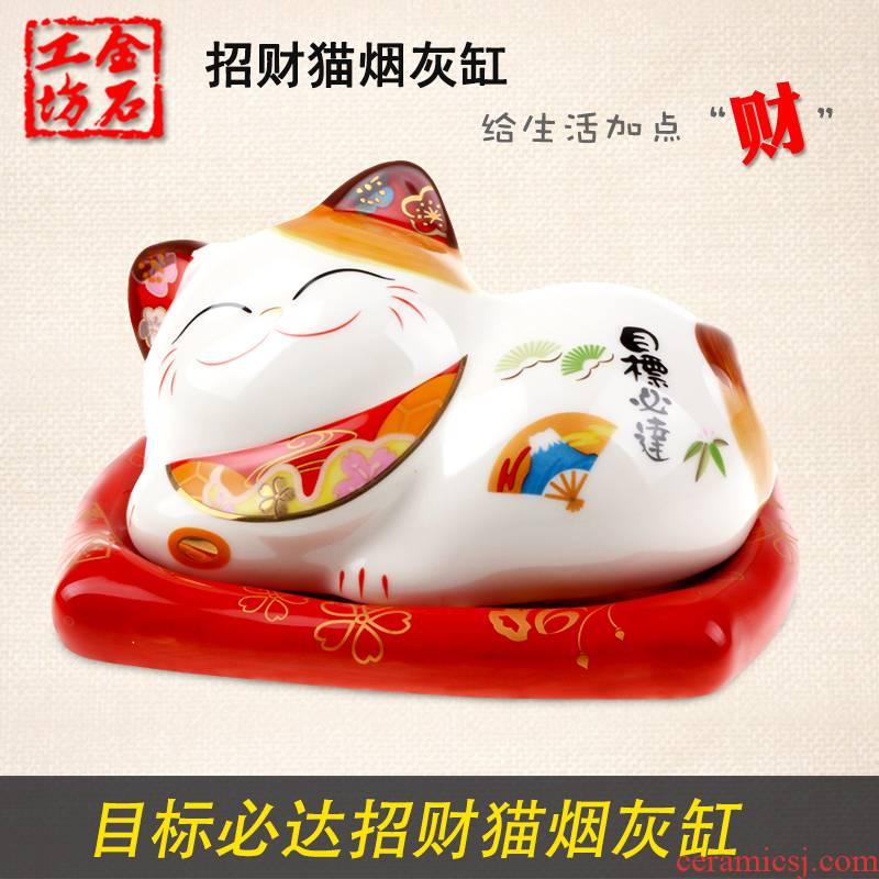 Stone workshop objectives will reach the ashtray/jewelry box plutus cat furnishing articles ceramics handicraft