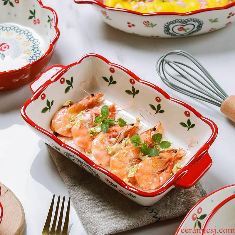 Element treasure American creative ears pan ceramic household western dishes baked baked FanPan rectangular plate