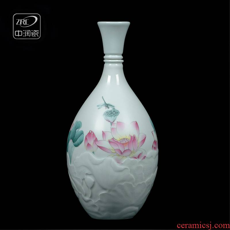 Jingdezhen ceramic jar three catties 375 ml of household antique carved lotus mercifully bottle liquor hip flask