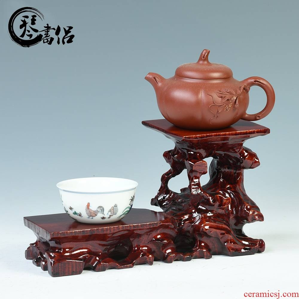 Teapot base solid wood height flower pot in the decorative furnishing articles it base base, heightening stone base