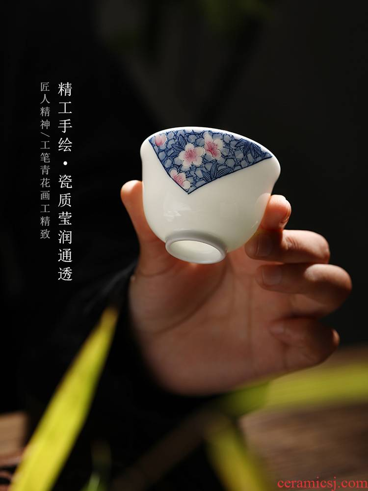 Cloud art of jingdezhen pure manual master cup single CPU personal cup hand - made porcelain kung fu tea bowl ceramic tea set