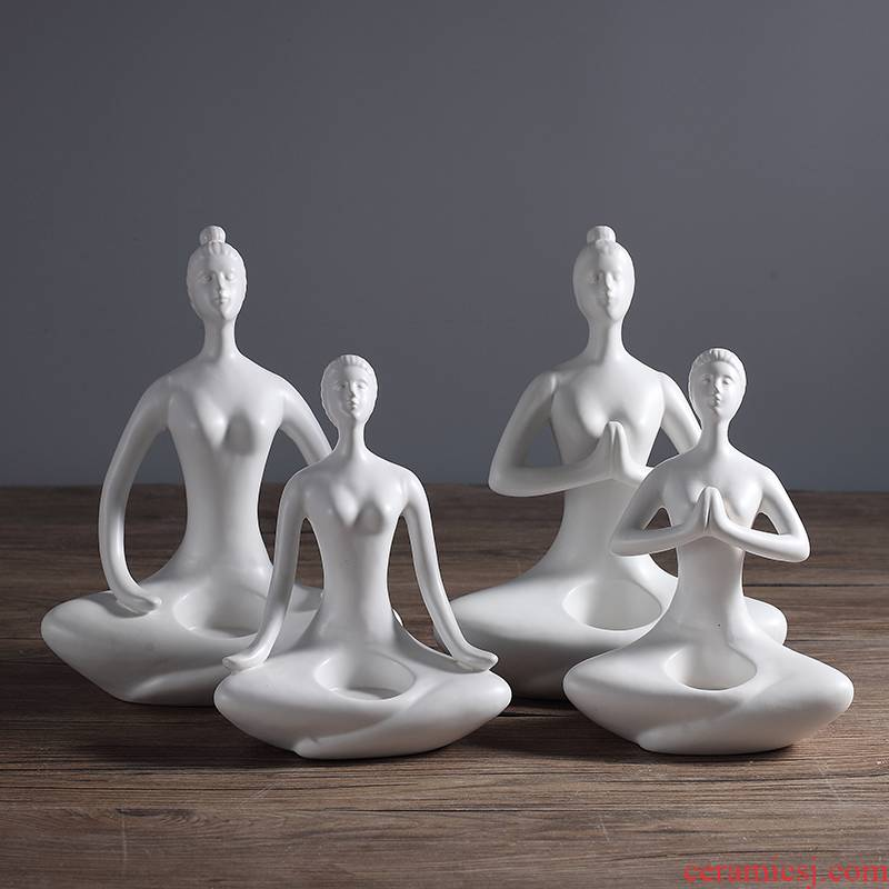 Jingdezhen ceramic creative yoga characters furnishing articles of modern home living room decoration opening gifts