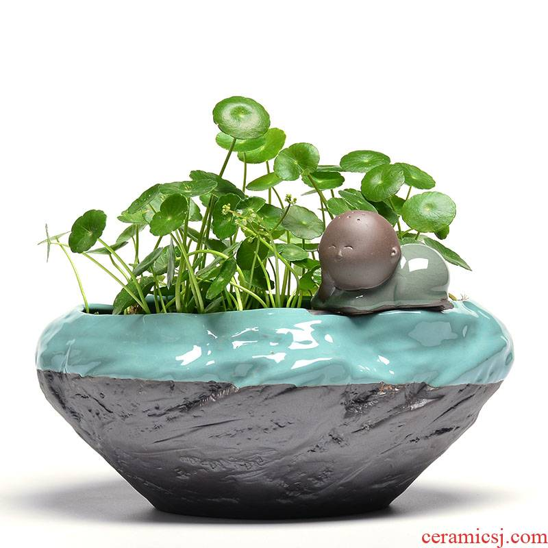 Refers to flower pot ceramic violet arenaceous creative indoor green plant pot large money plant grass cooper nonporous hydroponic container