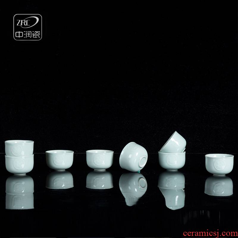 Jingdezhen ceramic household retro celadon carved dragon A koubei creative A cup of white wine cup of wine suits for