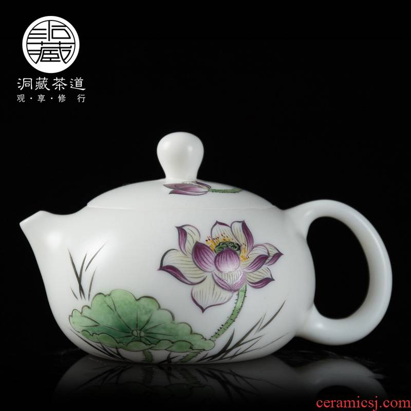 Building in dehua white porcelain teapot kung fu tea set painting biscuit firing Chinese white household single pot of tea