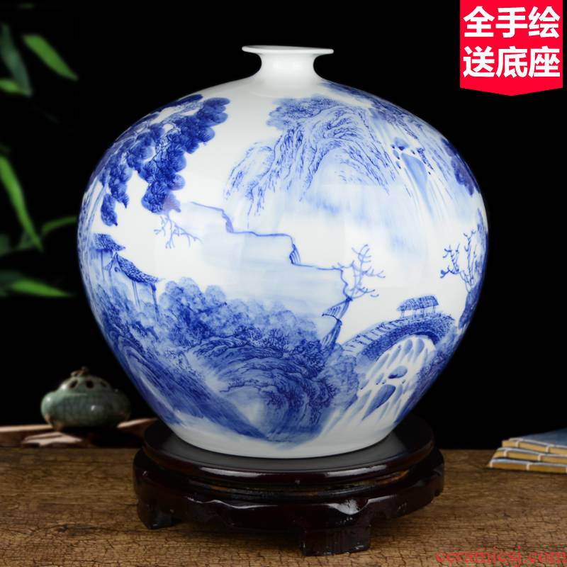 Jingdezhen ceramics celebrity hand - made porcelain of blue and white porcelain vase household act the role ofing is tasted rich ancient frame large sitting room place