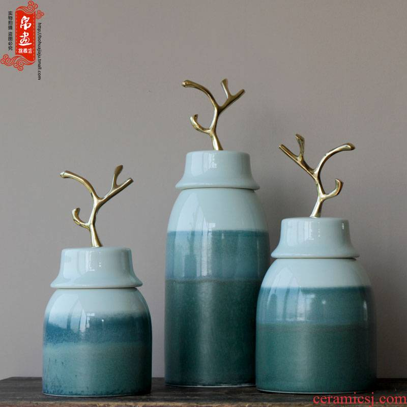 Jingdezhen ceramics Nordic manual variable vase key-2 luxury furnishing articles creative home dry flower arranging flowers to decorate the sitting room