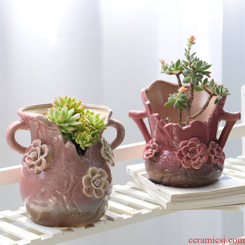 European fleshy old running the mage basin dried flower vase flowerpot ceramics green the plants potted bracketplant asparagus rich tree flowers