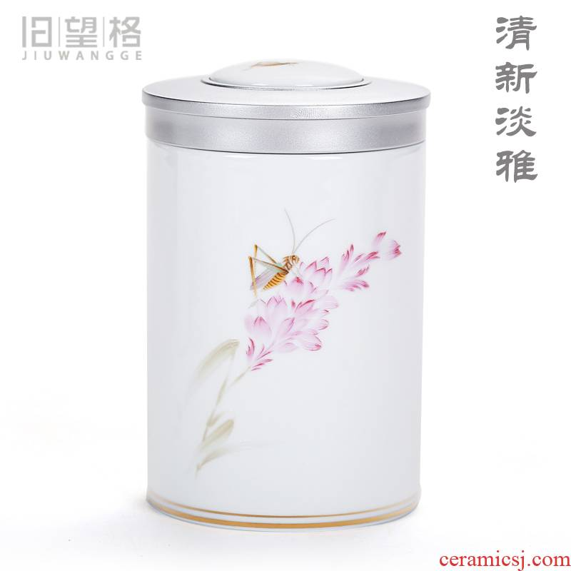Old &, ceramics and pure and fresh and contracted caddy fixings household utensils to save small POTS white porcelain straight tank storage jar