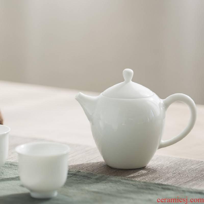 Jingdezhen ceramic teapot manual white porcelain household little teapot beauty shoulder make tea, tea set small capacity single pot