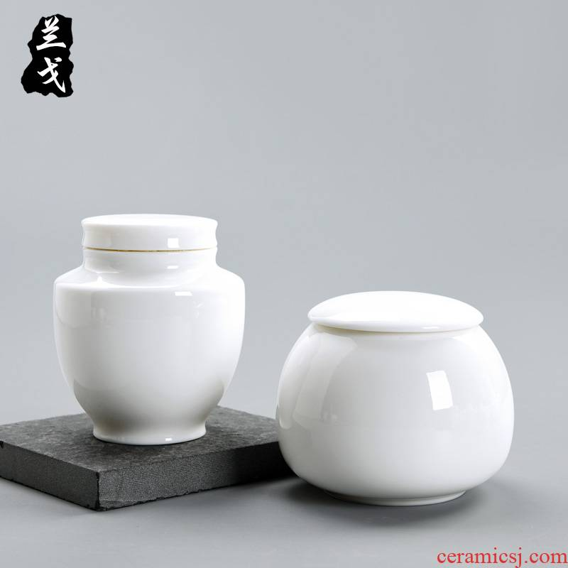 Having dehua white porcelain ceramic warehouse pu 'er tea caddy fixings wake receives tea accessories store POTS dry seal