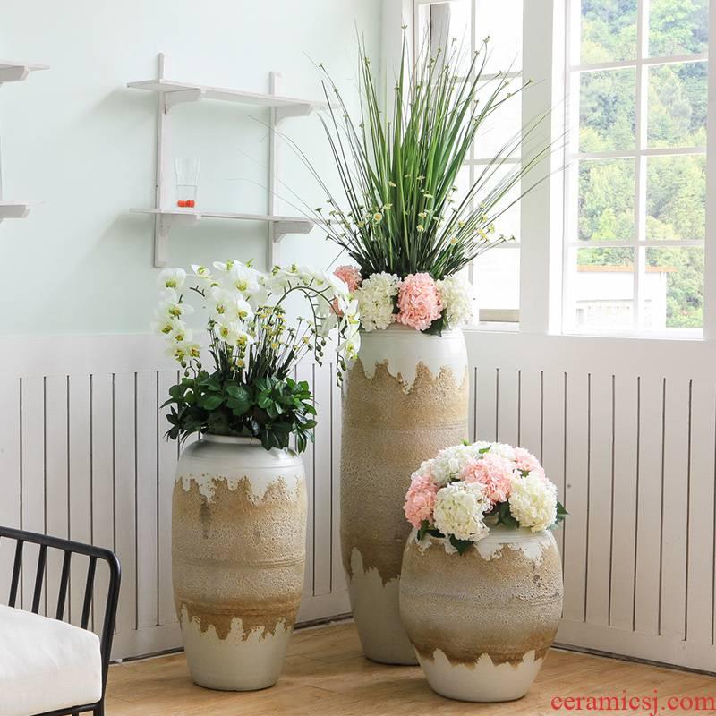Jingdezhen retro creative pastoral big vase hotel lobby villa garden decoration floral landing place