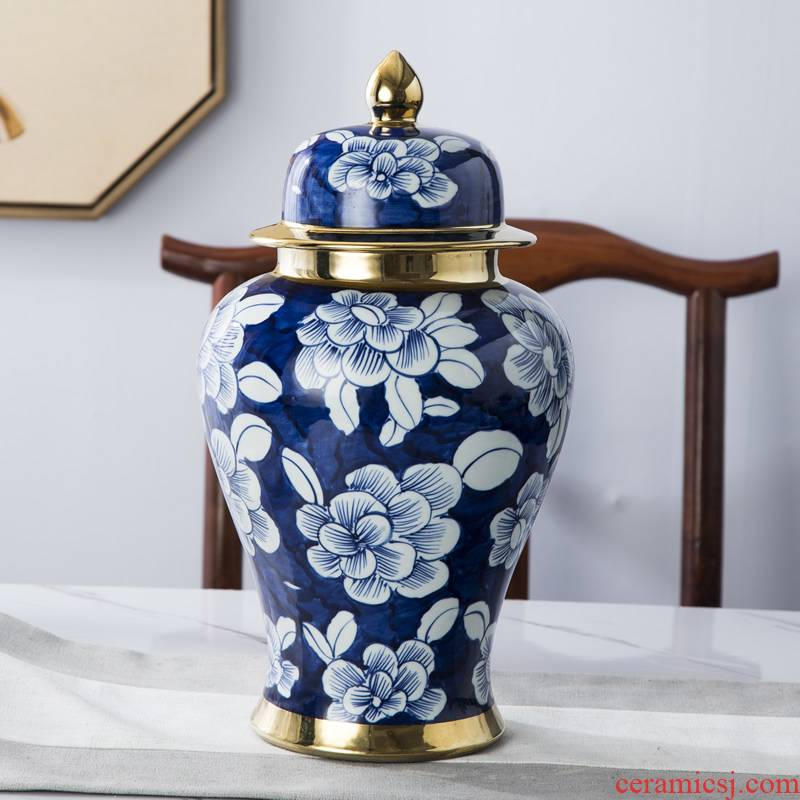 Jingdezhen hand - made general blue and white porcelain jar ceramic vases, furnishing articles large Chinese style living room home decoration