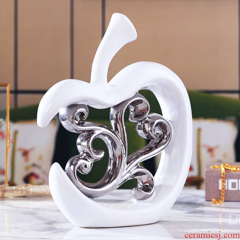 Creative furnishing articles of ceramic arts and crafts continental contracted household wine sitting room adornment ornament silver hollow out the apple