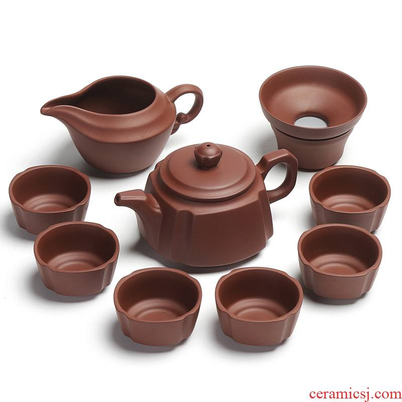 Xin edge of purple sand tea sets kung fu tea set a complete set of home office half manual teapot tea cups