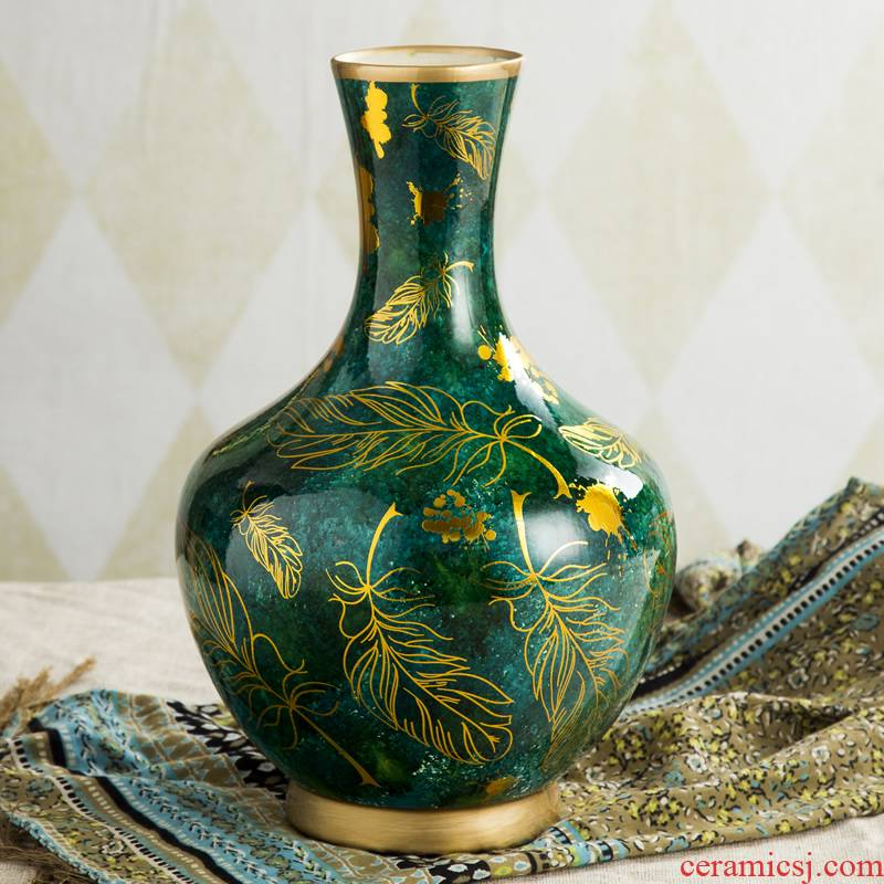 New Chinese style ceramic vase flower arranging dried flowers sample room TV cabinet table furnishing articles, the sitting room porch soft decoration