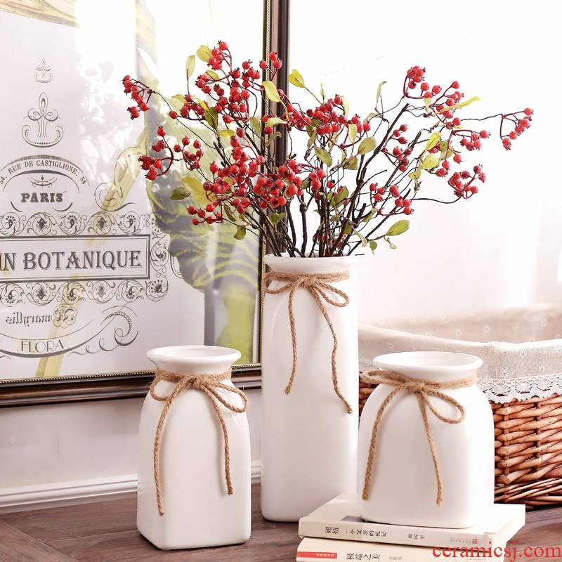 Jingdezhen ceramic contracted white rope vase small pure and fresh and dried flowers, flower arrangement sitting room home furnishing articles