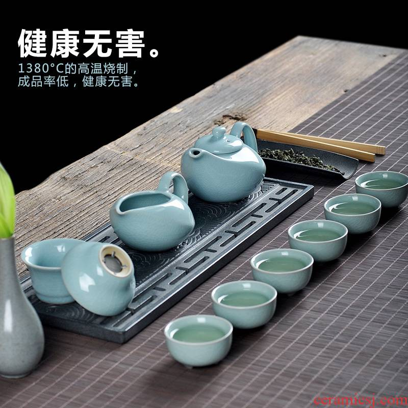 Hon art ceramic household open piece of your up of a complete set of tea service contracted agate into glaze teapot teacup accessories kung fu suit