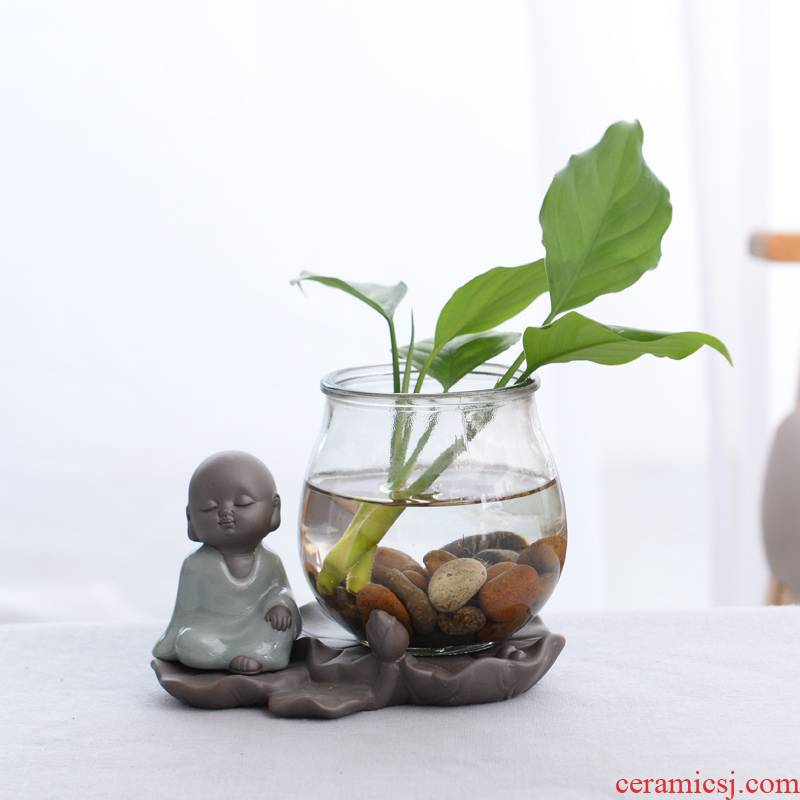 Hydroponic grass cooper ceramic flower pot zen non - porous glass Hydroponic other white palm lucky bamboo flowers and fleshy flower pot