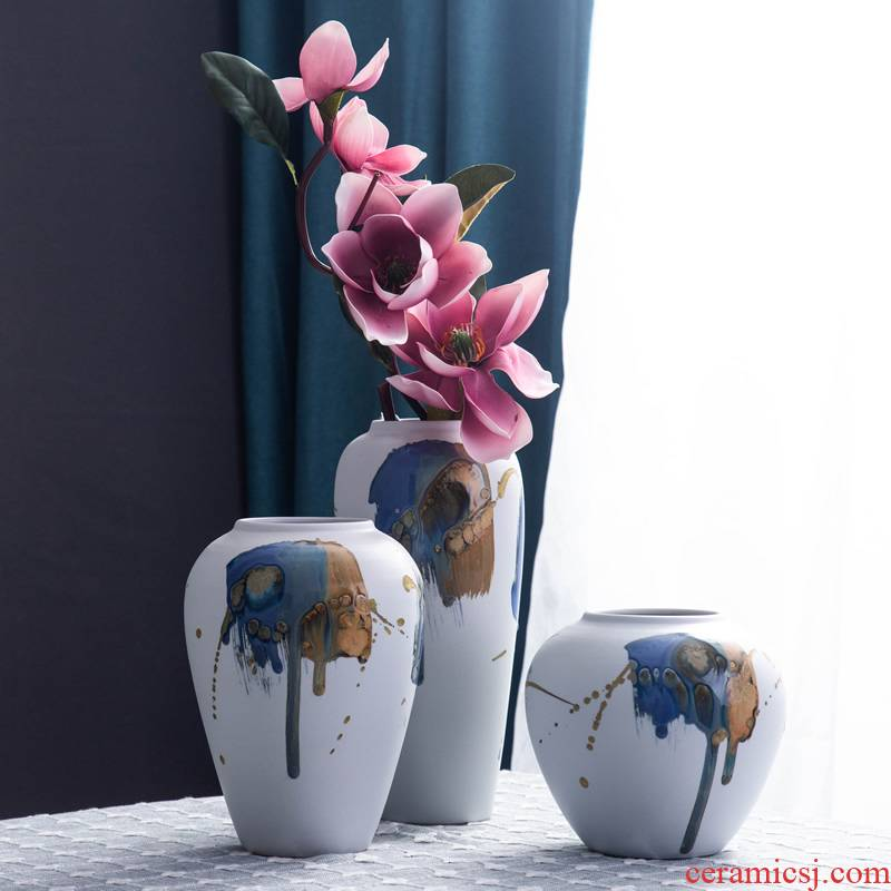 The New Chinese zen ceramic vase dry flower is placed sitting room simulation flower arrangement table, TV ark, household soft adornment