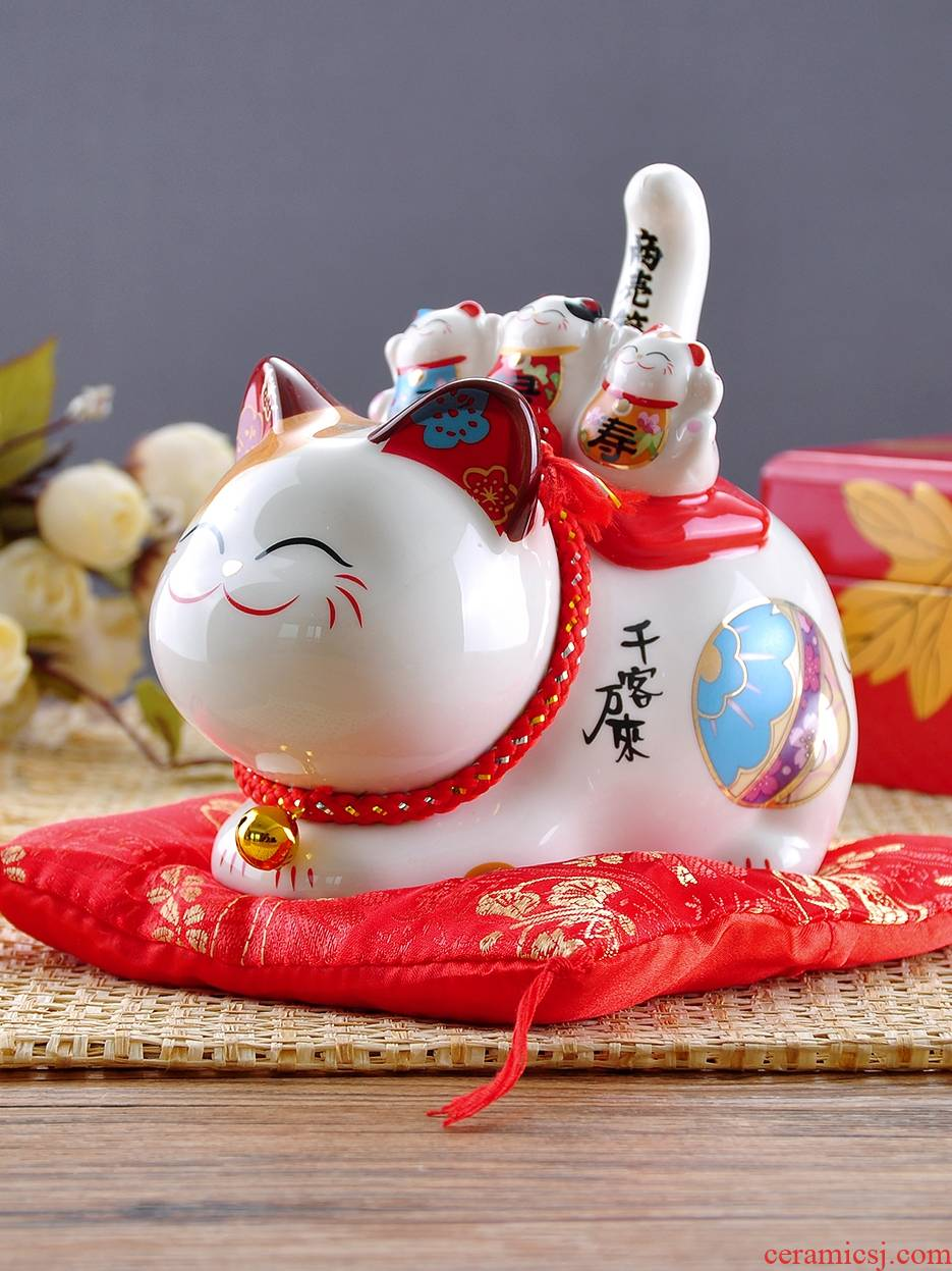 Stone workshop plutus cat furnishing articles ceramic solar electric wave cat Japan rich store opening gifts
