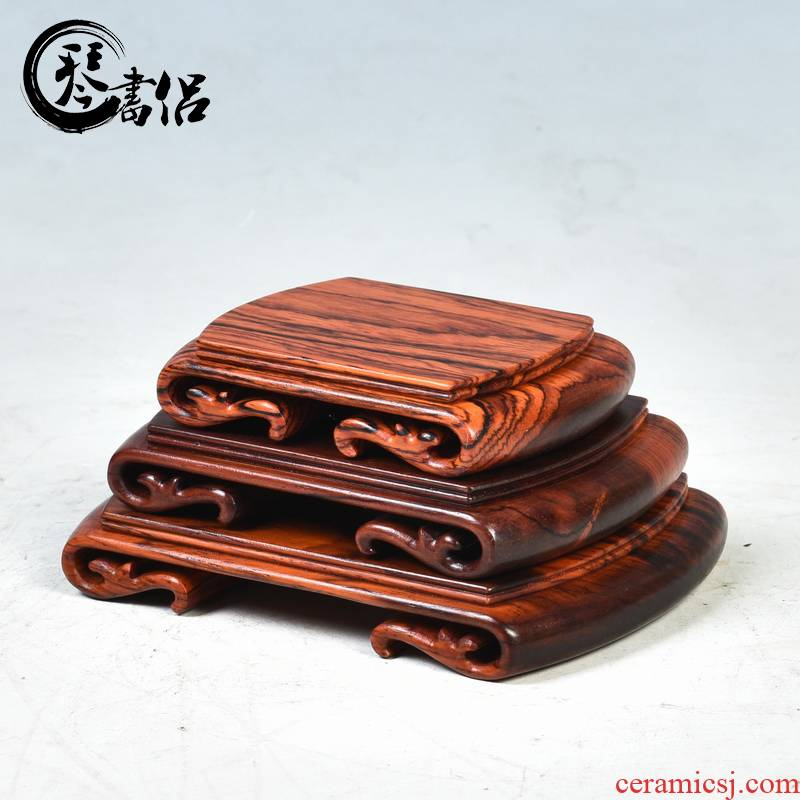 Pianology picking red mahogany base acid branch scroll base small square tea sets are it jade penjing base