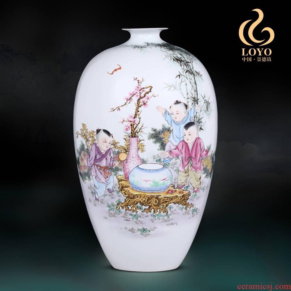 Jingdezhen ceramics furnishing articles hand - made merrily merrily vase sitting room of Chinese style household TV ark adornment ornament