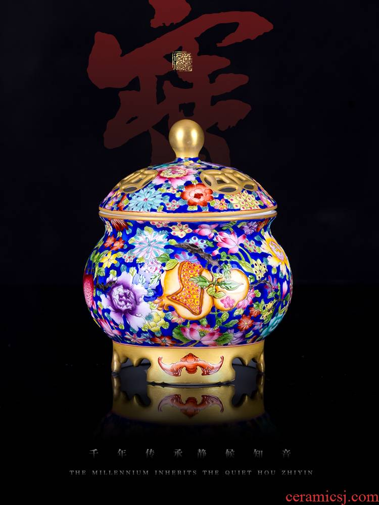 About Nine katyn colored enamel flower incense buner jingdezhen ceramics by hand is placed indoor smoked incense buner accessories high - end collection