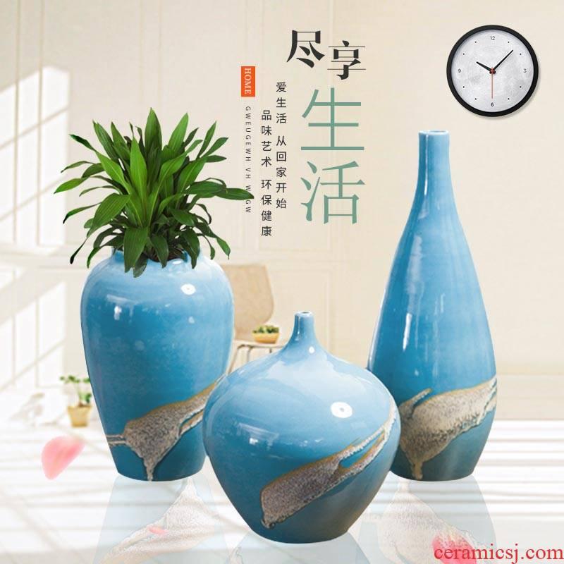 Creative new Chinese be born ceramic vase three - piece home sitting room ark adornment furnishing articles TV ark, decoration