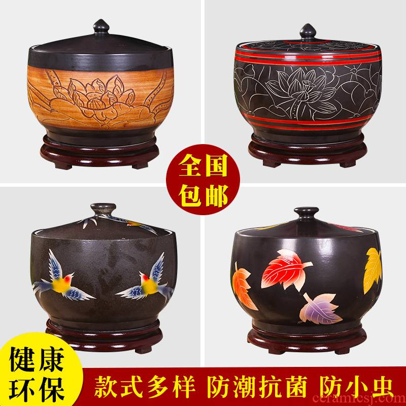 Art spirit of jingdezhen ceramic barrel ricer box store meter box with cover insect - resistant seal tank cylinder storage tank
