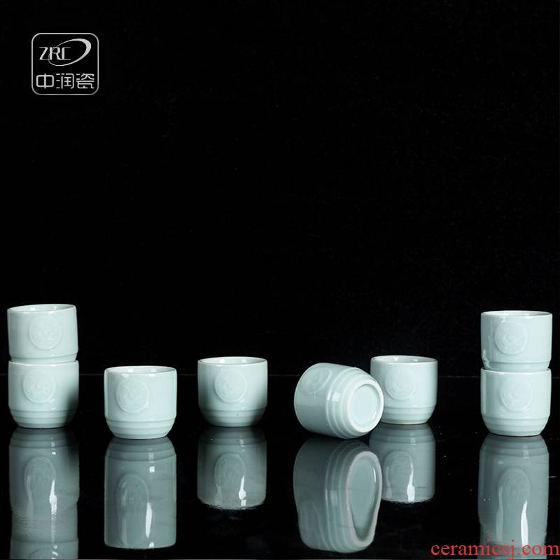 Jingdezhen ceramic household celadon restoring ancient ways is a small glass koubei creative carved dragon wine cup of wine suits for