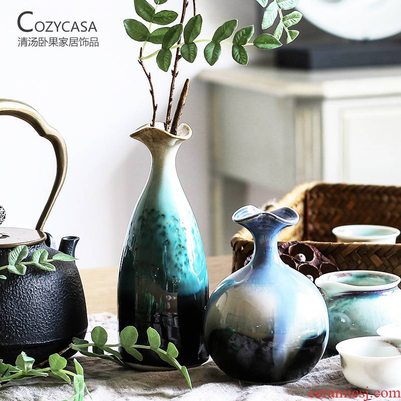 The Clear soup WoGuo home decoration vase furnishing articles sitting room flower arranging Chinese style desk study ceramic table variable glaze bottle