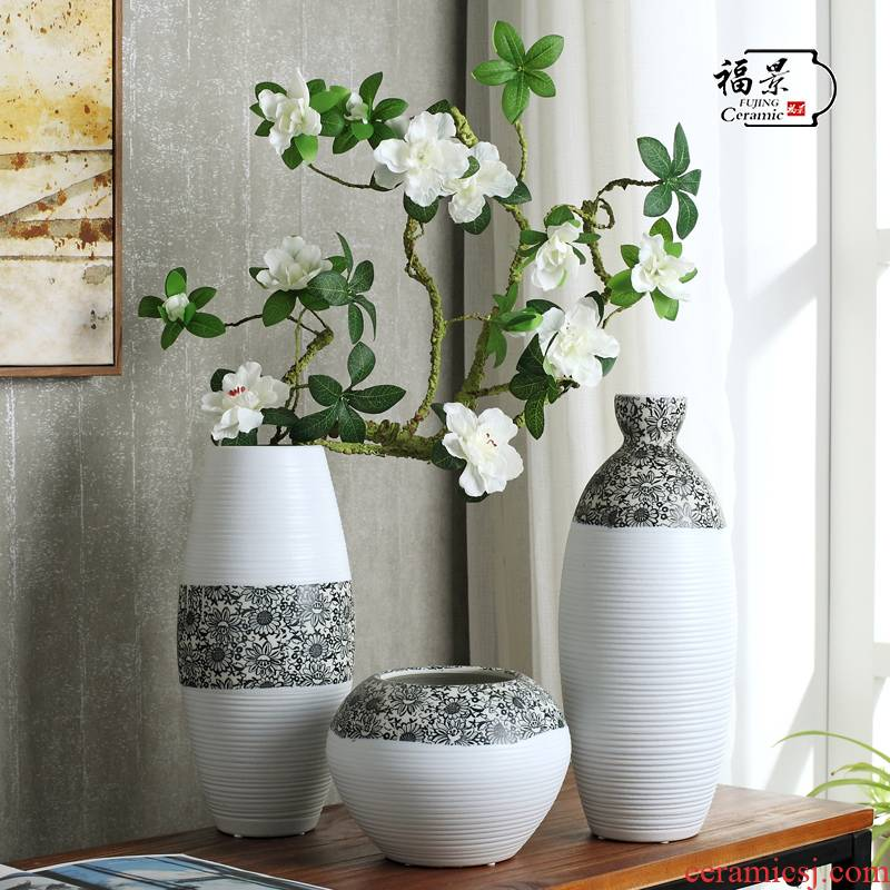 The creative scene ground vase furnishing articles home decoration ceramic pottery three - piece sunflower flowers sitting room