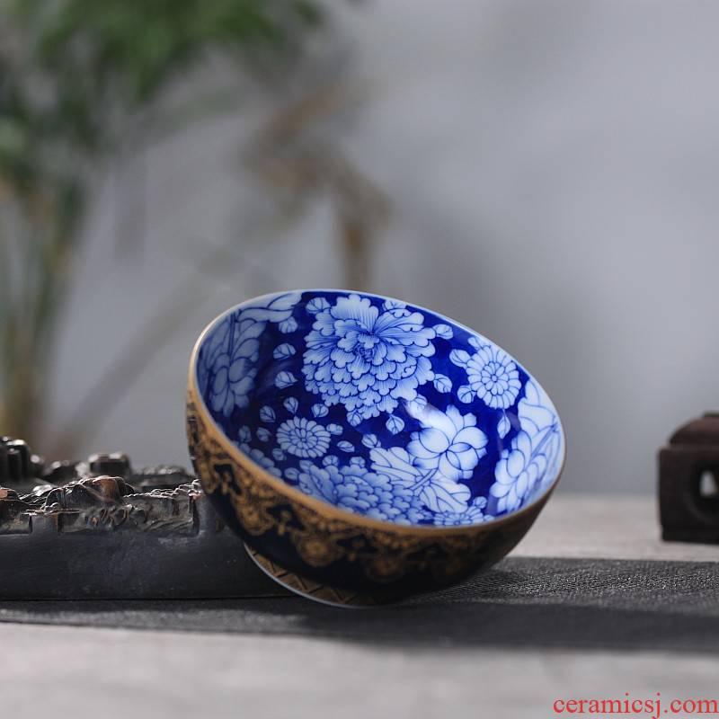 Hand made blue ji blue see colour sample tea cup flower kung fu tea cups customizable tea taking of jingdezhen ceramics