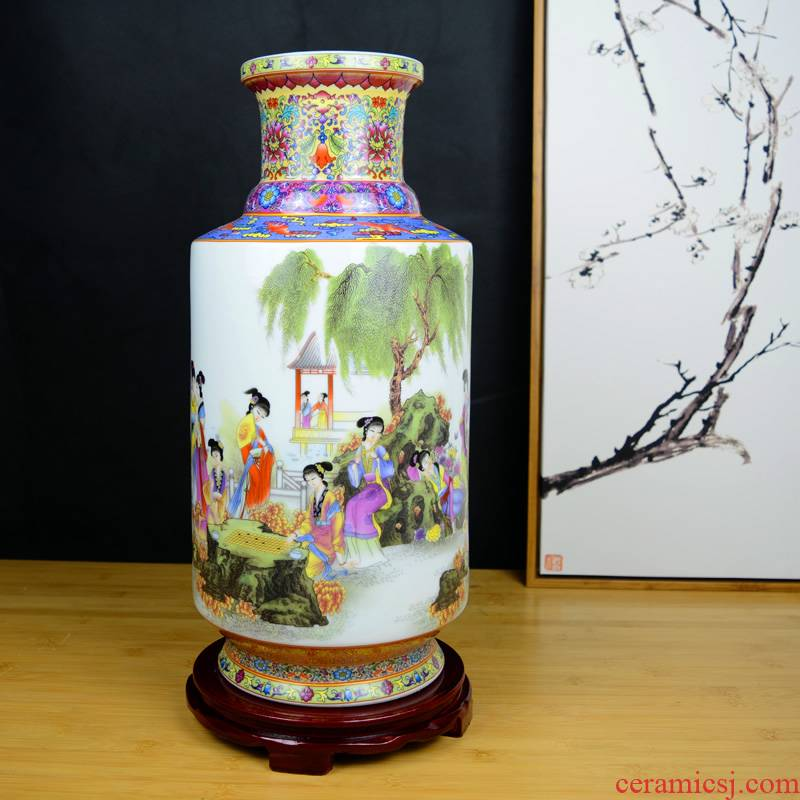 Jinling twelve women of jingdezhen ceramics vase painting Chinese wind rich ancient frame sitting room adornment handicraft furnishing articles