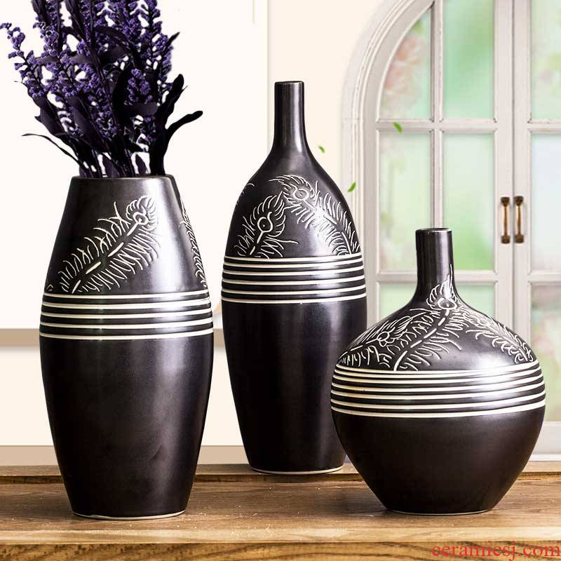 Creative household ceramic vase three - piece wine sitting room adornment is placed the bedroom room decoration of modern technology